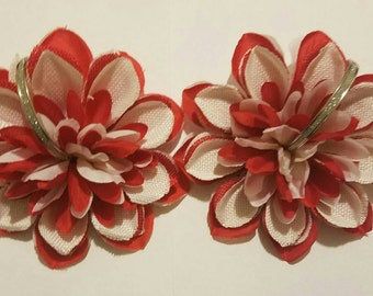 Red and White silver sparkly hoop Dahlia Earrings