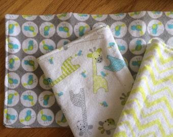 Neon Giraffe and Birds burp cloth set of 3