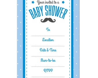 Baby Shower INVITATION, Pack of 16, Boys Blue Moustache Theme