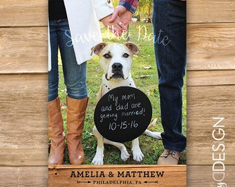 Save the Date, Wedding announcement, Full image, Wooden, printable, instant download