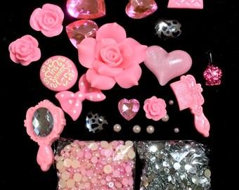 Mixed Resin Rose hearts Cabochon DIY kit resin cellphone deco kit