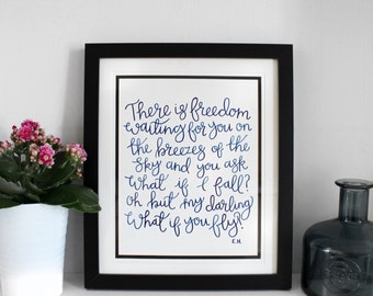 There Is Freedom A4 ORIGINAL - Mounted in a 12inx10in Frame as shown (Free U.K. shipping)