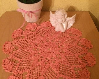 Crocheted Doilies salmon color