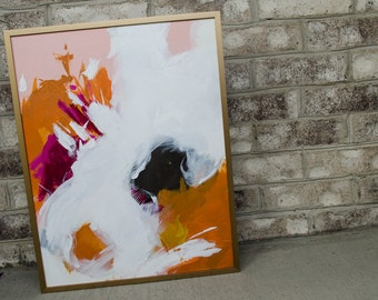 """Colorful Abstract Painting 14""""x18"""", Framed"""