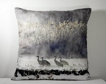 """16""""x 16"""" Decorative Pillow Cover with Winter Bosque del Apache Cranes in the Fog  Photo Print"""