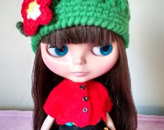 Crochet cap Blythe Pullip doll size