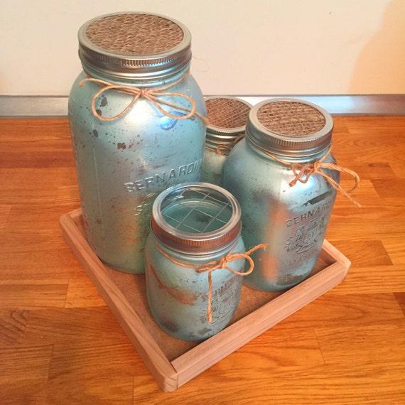 Mason Jar Kitchen Decor Set: Light Blue Mason Jar Kitchen Canister Set