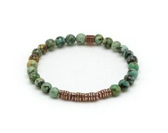Turquoise Aztec 6mm pearl bracelet