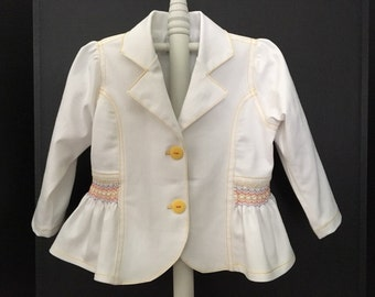White Stretch Denim  Jacket with Smocked Trim Size 2-4-6 Fully Lined Available To Ship!