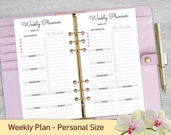 Personal Size WEEKLY PLANNER Weekly Planner Printable, Weekly Organizer, Weekly Schedule, Desk Planner, Weekly To Do List, Personal Filofax