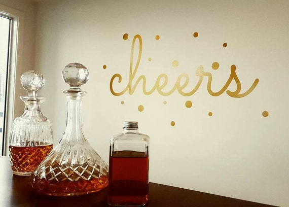 Cheers Wall Sticker Decal (Gold) 1400mm x 600mm - Bar Decor - Special Occasion - Wedding Decor
