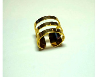Stripe Gold Plate Ring