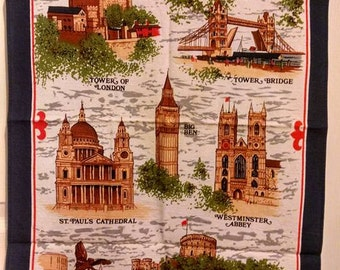 London Souvenir Linen/Cotton Tea Towel Made in Britain Churchill Gifts Clive Mayor PRICE REDUCED!