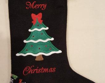 Black felt Christmas stocking