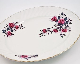 "Vintage Ridgway Ironstone ""Fragrance"" Small Turkey Serving Platter / Pink Roses Oval Platter / Fragrance Pattern Platter / English Ironstone"