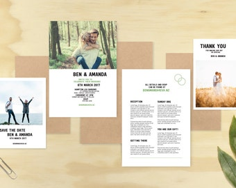 Wedding Invitation Set, Digital Printable File, Photographic, Hipster, Designer Invite Kit.