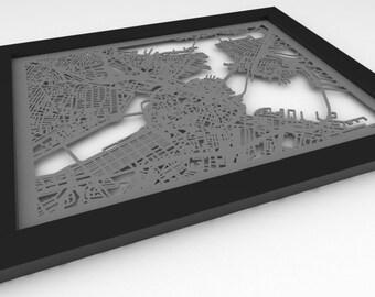 Boston Massachusetts Map Wall Art