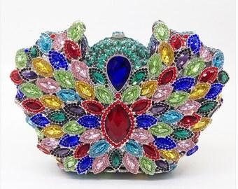 Multi-coloured Crystal Evening Bag