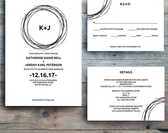Wedding Invitation Template, Modern Wedding Invitation Bundle, Wedding Printable, Wedding Communication Template Set, PDF Instant Download