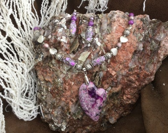Handcrafted Purple Crazy Lace Agate Pendant Necklace with earrings