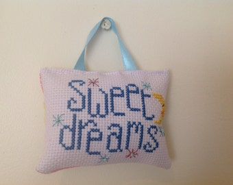 Cross stitch baby wall hanging