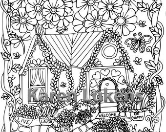 5 pages, Happyville Coloring Pack #1 , 5 Adult Coloring Book Pages, Printable Instant Download