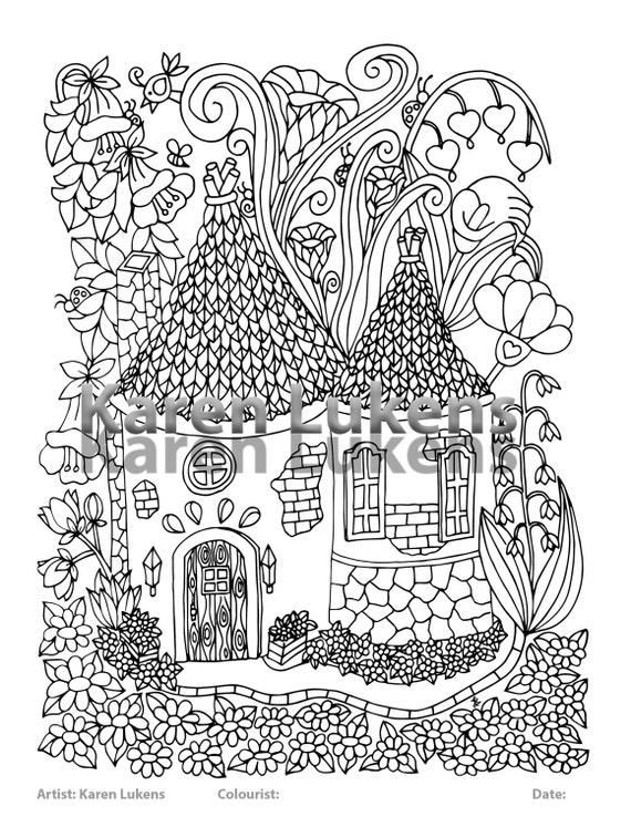 Fairy House 5 1 Adult Coloring Book Page Printable Instant