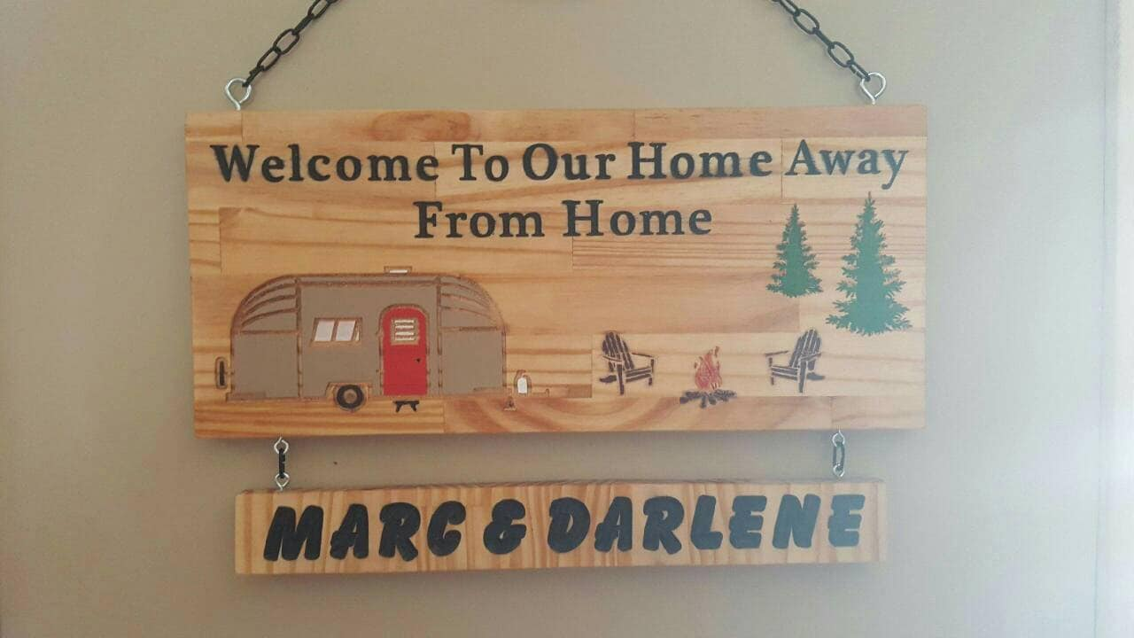 Home Away from Home Camp Sign w/ Name Plaque