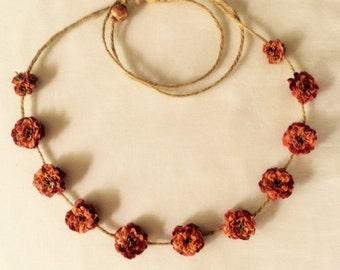 Renaissance, Rustic, Festival orange mini cabbage rose flower crown/headband