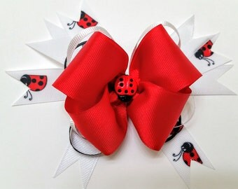 Med Red Lady bug Bow
