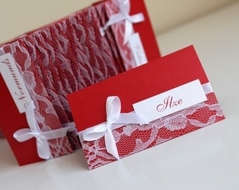 10 pcs wedding place cards, red wedding place cards, red place cards with lace, white lace place card, red place cards, handmade place cards