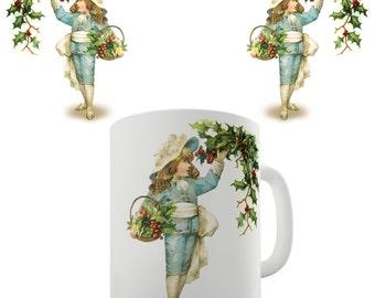 Christmas Card Mistletoe Ceramic Tea Mug