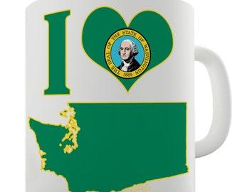 I Love Washington State Ceramic Funny Mug