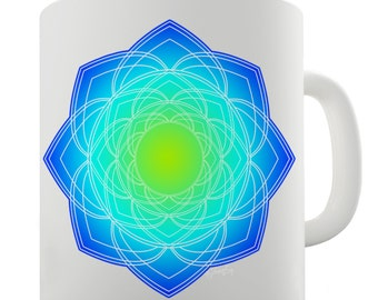 Geometric Blue & Green Mandala Ceramic Mug