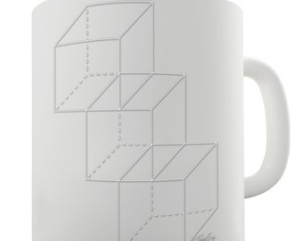 Geometric White Cubes Ceramic Funny Mug