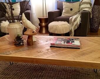 Herringbone Coffe Table with hairpin legs