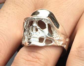 Sterling Silver 925 Biker Skull & Helmet Ring Non-Tarnish - Made in Detroit