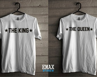 Couple Shirts King Queen Valentine's Gift for Valentines Day, King and Queen Shirt, Couples Tees, Valentine Gift for Couples shirts Tumblr