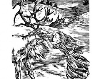 Snow Queen, wood engraving