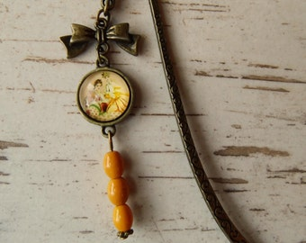 Bookmarks made of metal with beads and cabochon - vintage - antique bronze - style