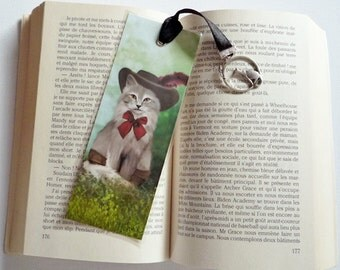 Bookmark cat - illustrated, laminated, handmade