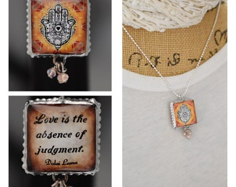 Charm/Yoga /Two Sides Unique/Dalai Lama/Inspirational/hamsa hand/Om/Quote/Inspiring/Soldered/Necklace/Ball Chain/Gift/Perfect Gift