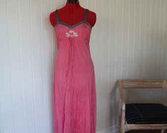 1970's Vintage pink satin maxi dress or nightgown