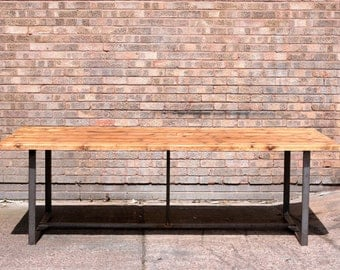 Industrial chic retro reclaimed wood conference or large dining table - 8ft x 4ft