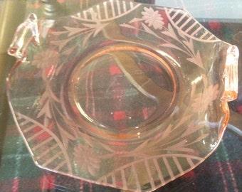 Decorative Pink glass tray