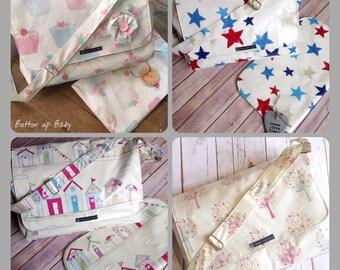 Custom nappy bag, custom baby changing bag, custom bag, custom diaper bag, baby changing bag, nappy bag, oilcloth bag, large diaper bag