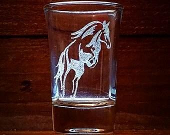 Jumping Horse Shot Glass // Gift Under 10 // Birthday Gift // Horse Lover // Gift For Dad // Gift for Her // Gift for Him  // Horse Gift
