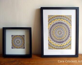 Framed Mandala Geometric Pattern Print ~ Purple and Yellow