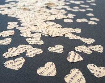 500 Personalised Heart Wedding Confetti
