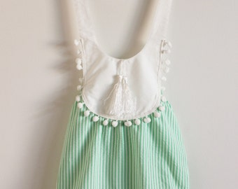 Baby Girl Pom Pom Tassle Romper Mint/White Size 1